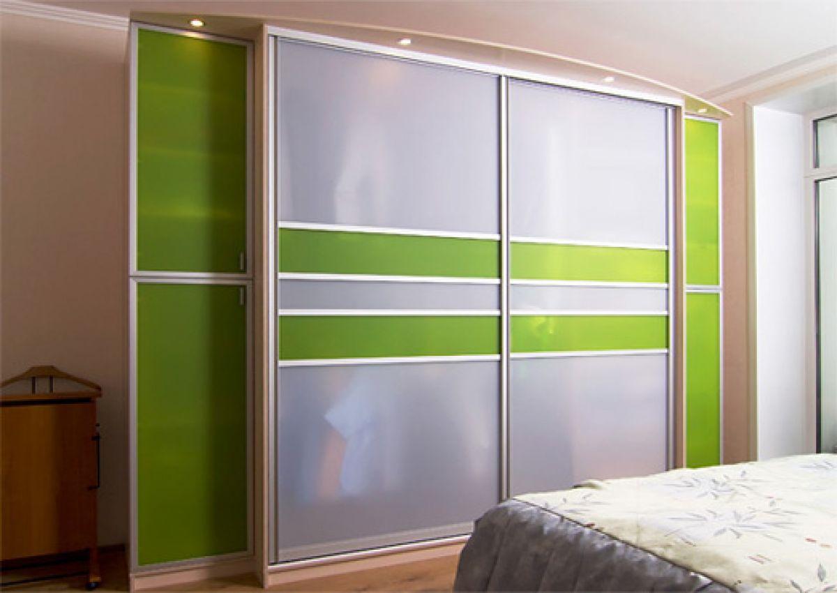Шкаф купе для спальни с салатовыми вставками 68, фото, купит.
